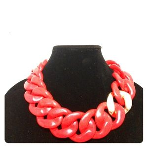 ZENZII hot orange CHUNKY CHAIN LINK RESIN NECKLACE